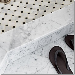 black-and-white tile and Carrara marble in remodeled bath